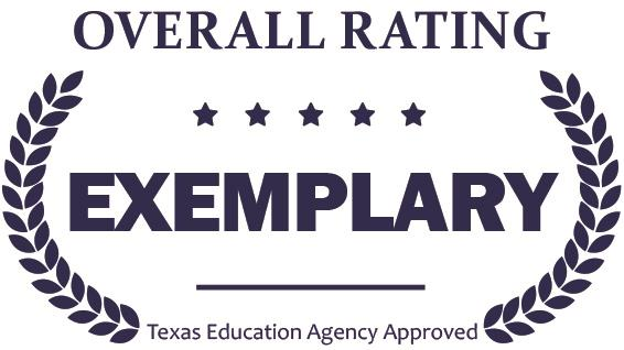 Graphic of overall exemplary rating that is Texas Education Agency approved