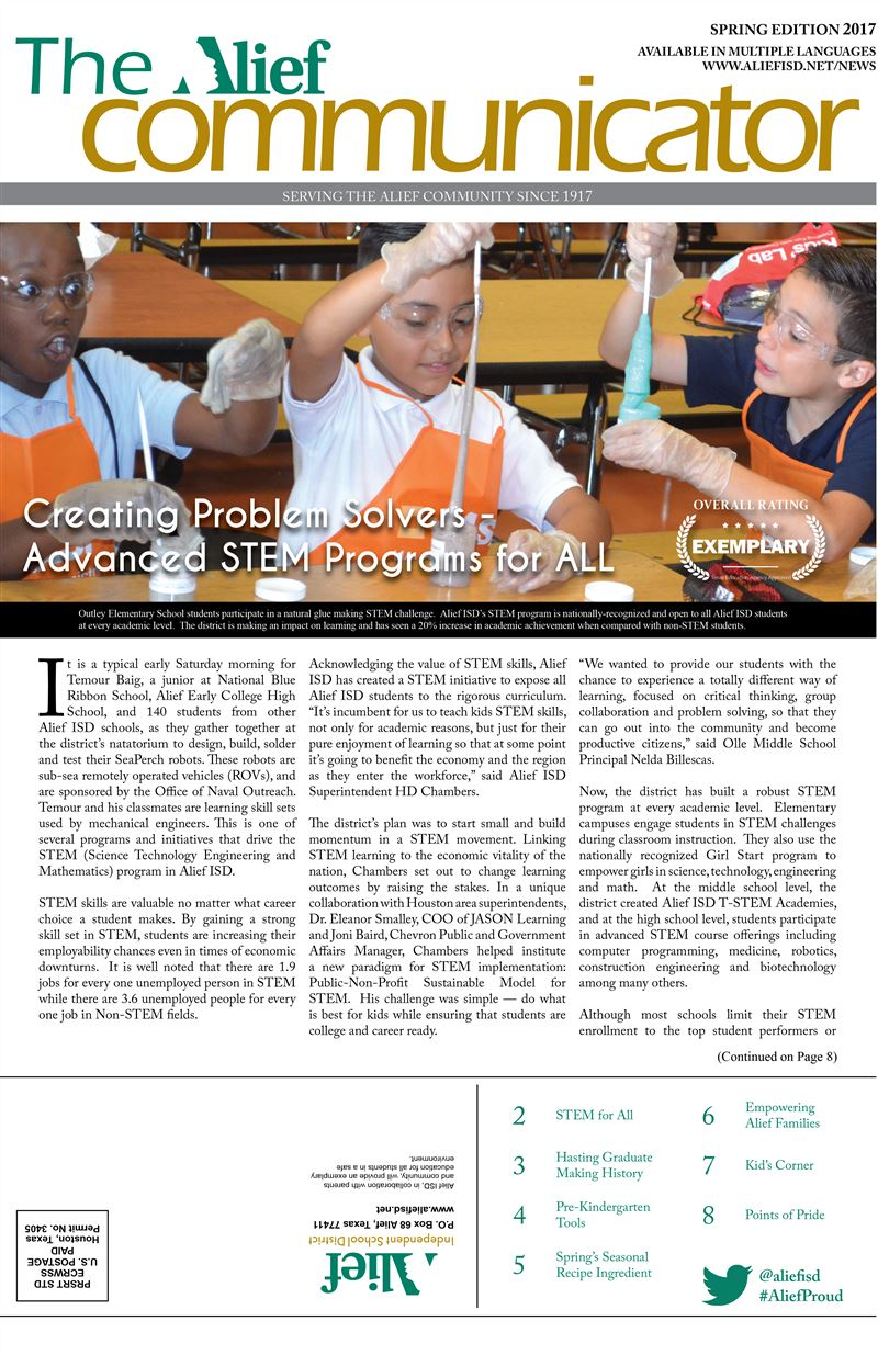 Graphic showing the cover of the Spring 2017 edition of The Alief Communicator newspaper