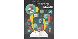 March into Literacy Month graphic