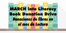 Books with MARCH into Literacy Book Donation Drive text