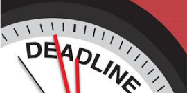 "Image of a clock with the word ""deadline"""