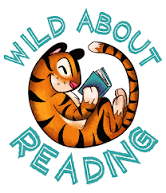Tiger reading with Wild About Reading text