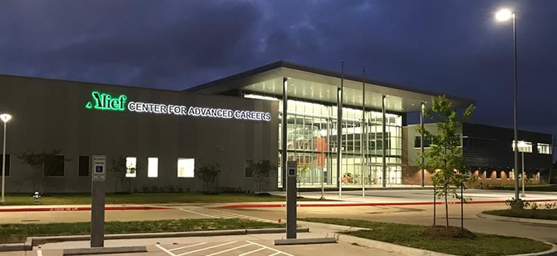 Career Center exterior at night