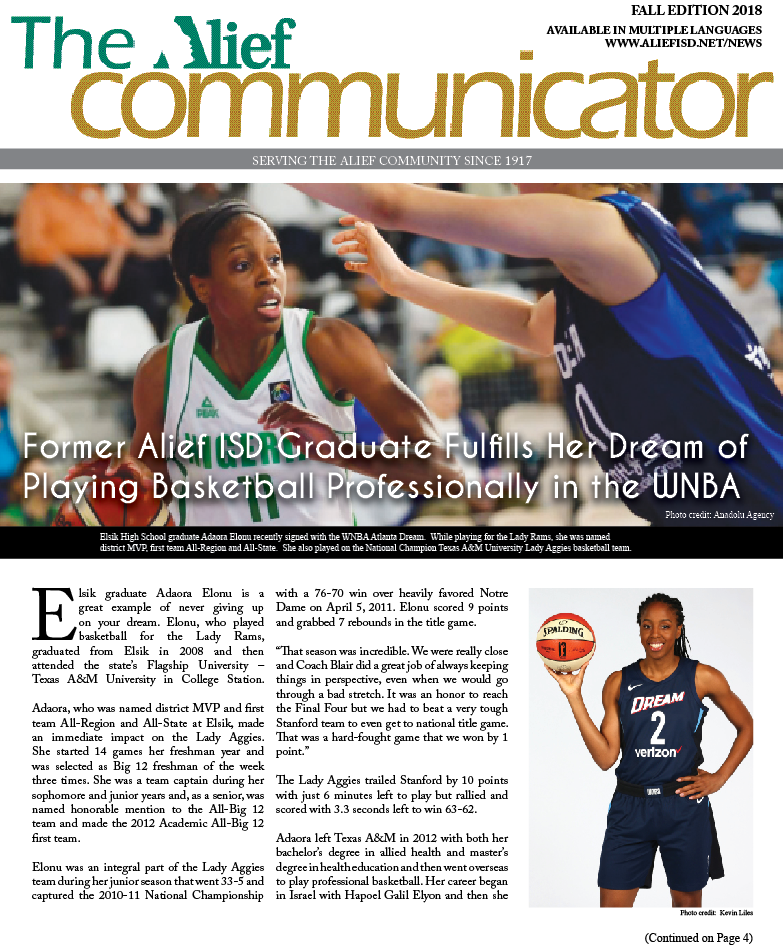 Cover of the Fall 2018 edition of The Alief Communicator newspaper