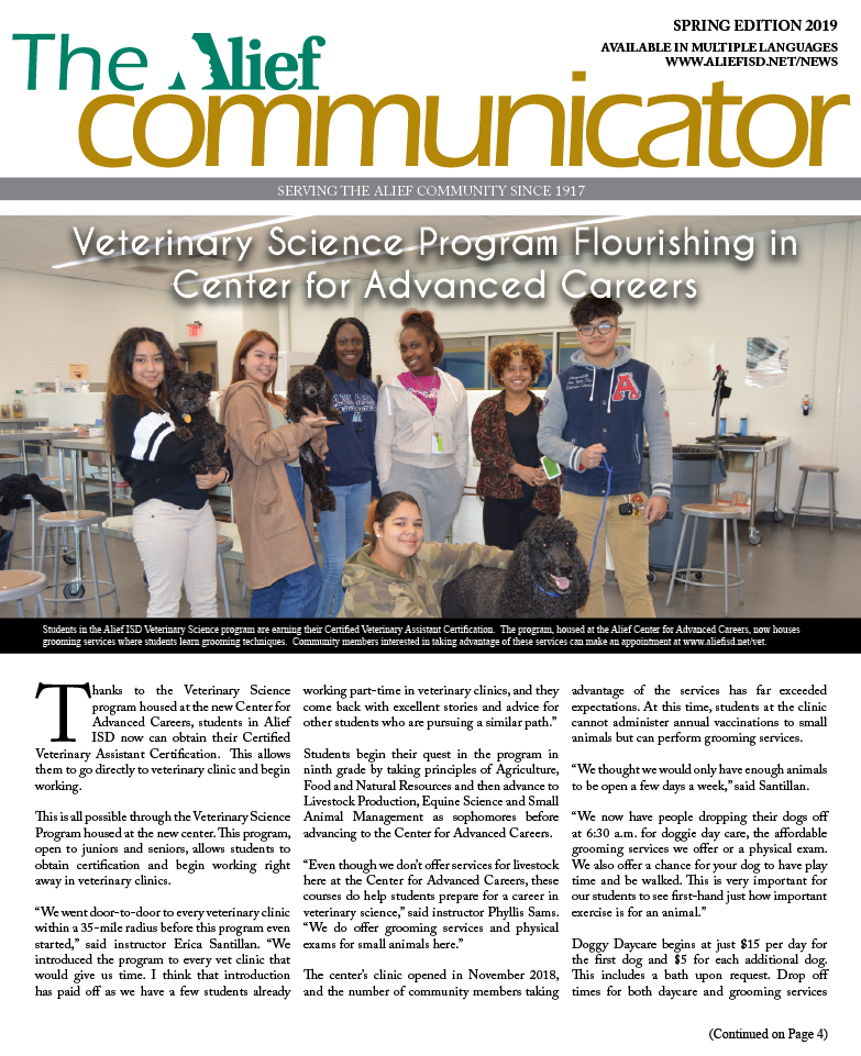 Cover of the Spring 2019 edition of The Alief Communicator newspaper
