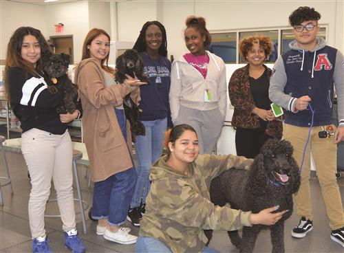 Students in the Alief ISD Veterinary Science program with dogs