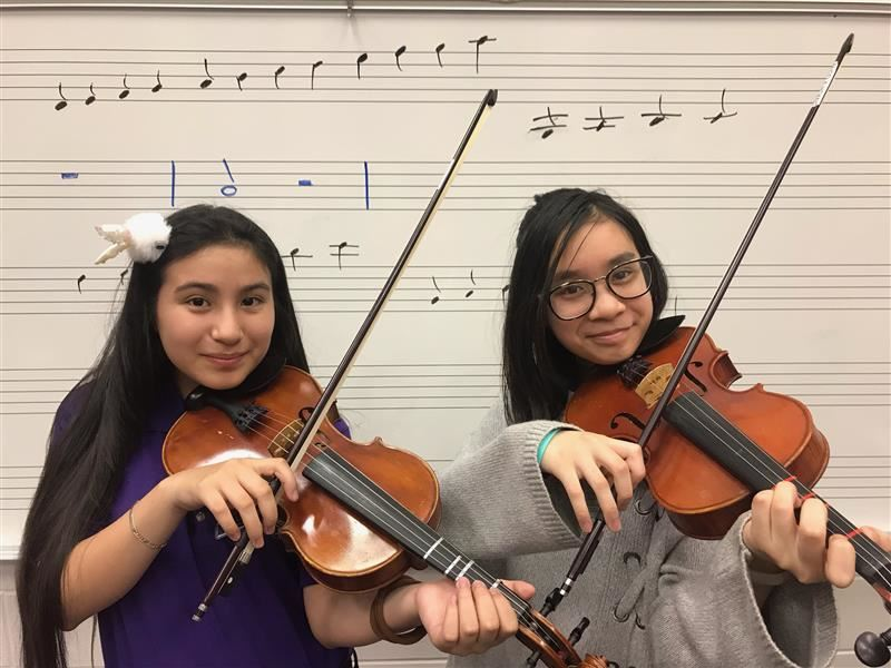 Orchestra Students preparing for Spring Performance