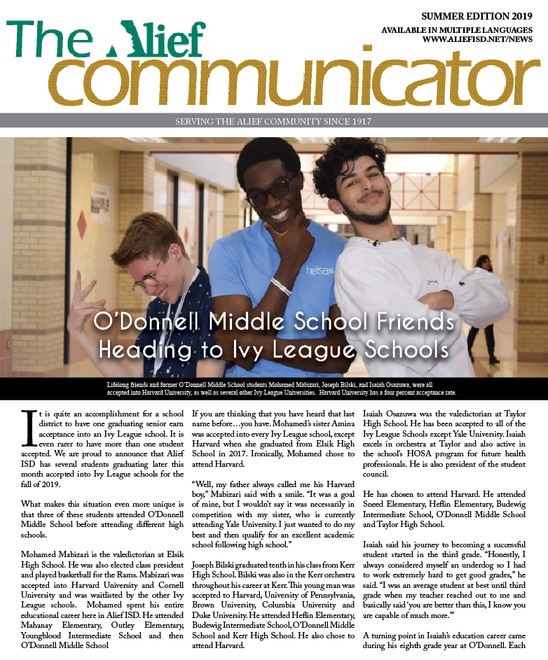 Cover of the Summer 2019 edition of The Alief Communicator newspaper