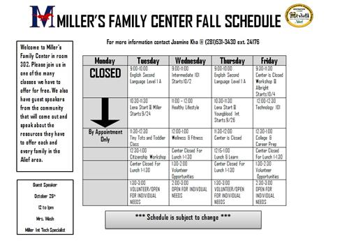 Family Center Schedule