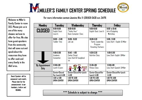 Miller Family Center Spring Schedule