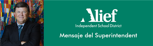 Mensaje del Superintendent with district logo with photo of HD Chambers