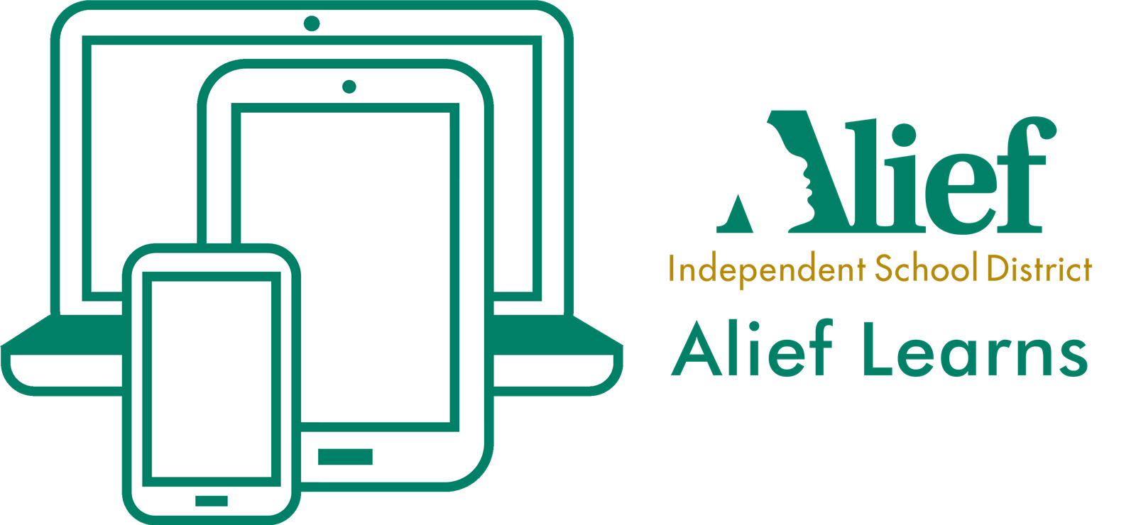 Alief ISD logo with Alief Learns text and devices
