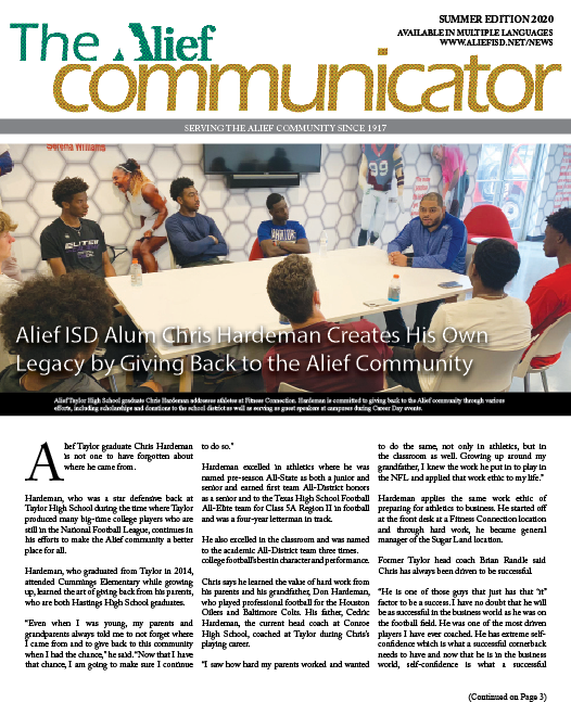 Summer 2020 The Alief Communicator newspaper cover