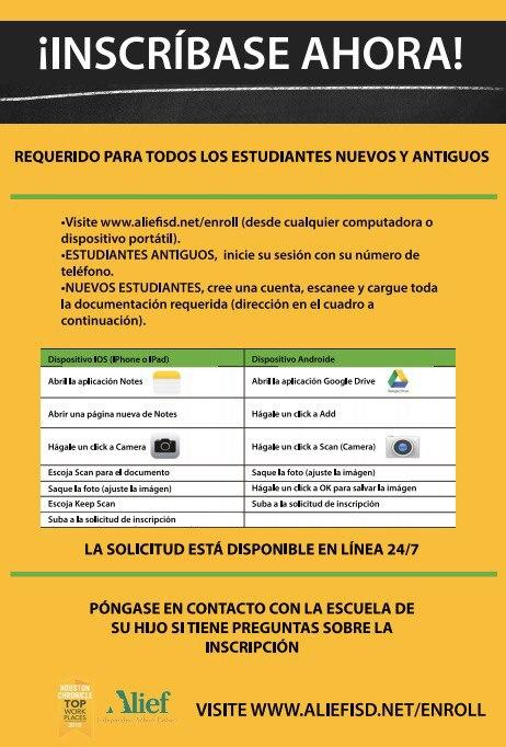 Detailed directions on registering in Spanish