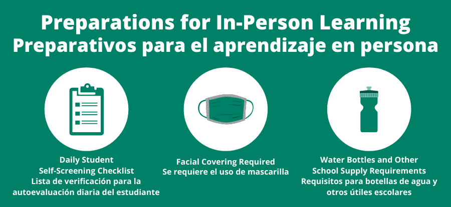 Preparations for in-person learning: clipboard for screening, facial mask, and water bottle in English and Spanish