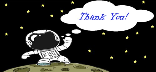 "Cartoon astronaut on the moon saying ""Thank You!"""