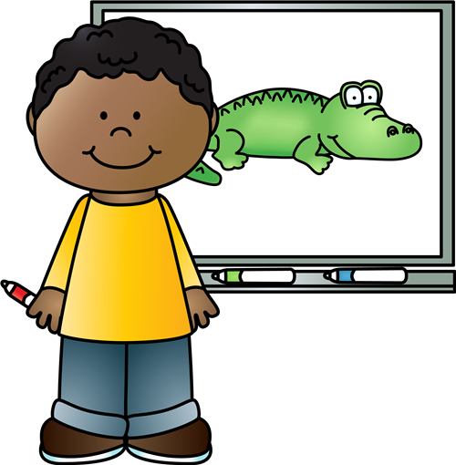 Boy using interactive board.