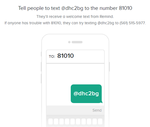 Text @dhc2bg to the number 81010