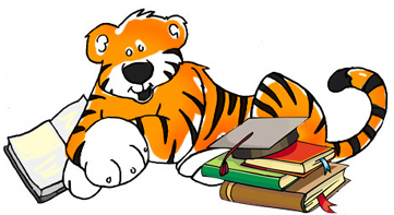 tiger with graduation cap and books