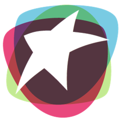 A colorful logo of a star