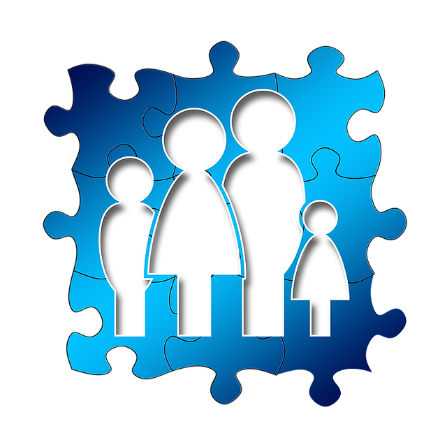Puzzle pieces in the shape of a family of 4
