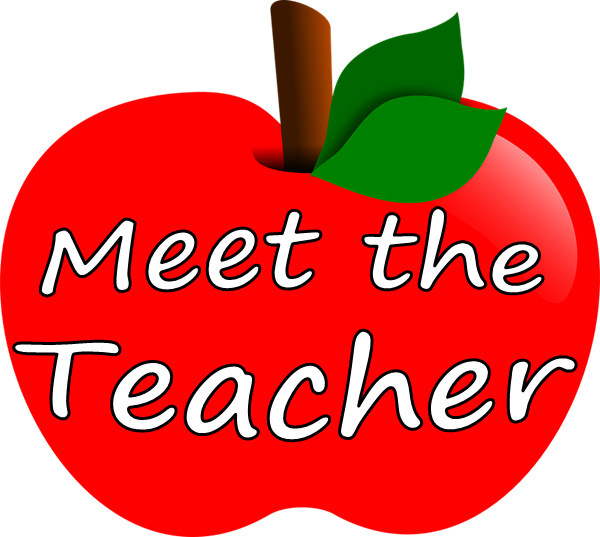 "An apple with the words ""Meet the teacher"" written on it"