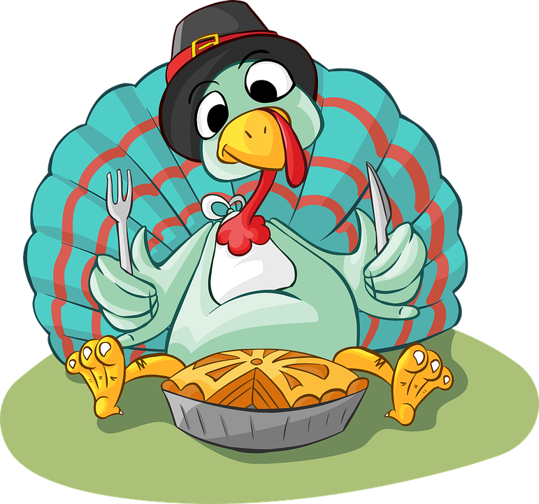 A cartoon drawing of a turkey about to eat a pie