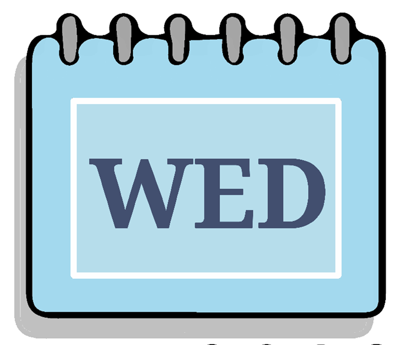 "A calendar page with the word ""WED"" written on it"