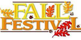 Graphic of Falling leaves for Fall Festival Announcement
