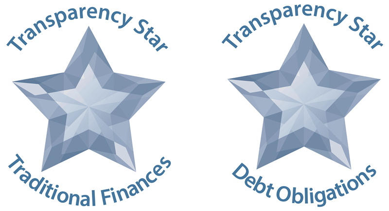 Graphic depicting two Transparency Star awards from the comptroller's office for traditional finances and debt obligation
