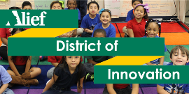 Graphic of Alief ISD students with Alief District of Innovation text