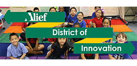 Graphic of students with Alief District of Innovation text overlay