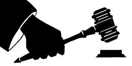 Graphic of hand holding a gavel