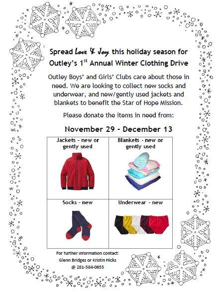 Please provide donations for our 1st Annual Winter Drive