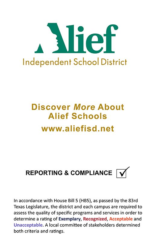 Graphic depicting reporting and compliance in Alief ISD and information about House Bill 5